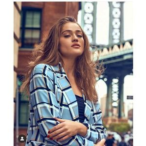 Topshop Pale Blue Check Double Breasted Jacket-6